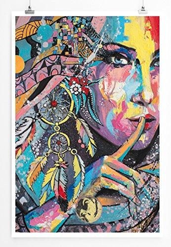 Eau Zone Home image – Image – colorée femme avec capteur de rêves Impression photo dans des lames Qualité, Image sur toile tendue Haut de gamme 60 x 90 cm, LEINWANDBILD gespannt 90x60cm