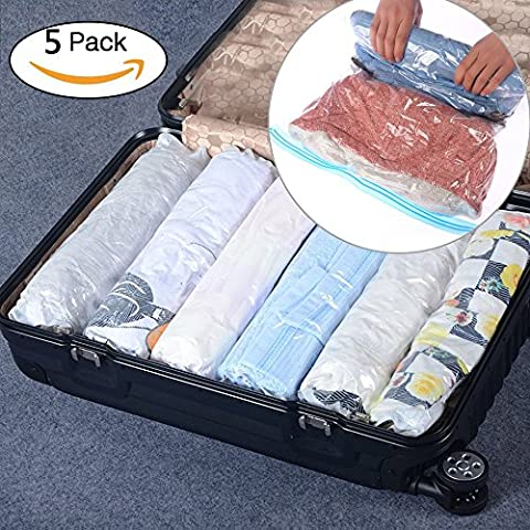 BOUYA 5 Packs Hand Roll Up Travel Vacuum Compression Storage Space Saver Bags Double Zipper Waterproof Perfect for Clothes,Duvets,Towels, Travelling(Small - 35*50CM