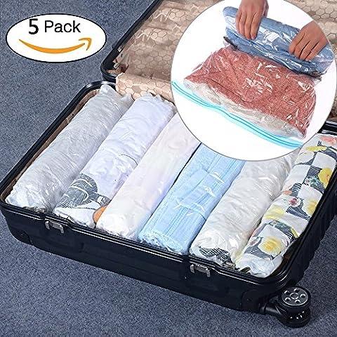 Bouya Main Roll Up sous vide Compression Sacs de rangement double fermeture éclair Space Saver étanche à linge Emballage organiseurs Idéal pour Vacances, voyages et maison, Lot de 5, transparent, Small