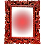 Akanksha Arts Wood Wall Mirror (16 Inch X 13 Inch, Red)