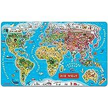 Janod 5490 - Puzzle magnético (92 piezas), diseño de mapa del mundo (importado de Alemania)