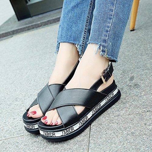 Lgk & fa estate sandali sandali di spessore inferiore da donna croce nastro stile college vento sandali Black
