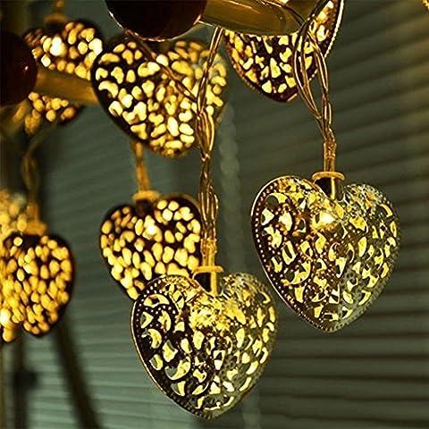 FreshGadgetz Batteria filo con 20 luci a forma di cuore led shabby chic - Fili A Forma Di Cuore