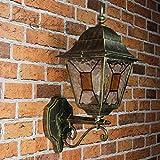 Antike XXL Wand Außenleuchte Wandlampe mit Glas im Tiffany Stil Nostalgie / E27 bis 60W 230V IP44 / Garten Laterne Hauswand Leuchte Lampe rustikal Landhaus Retro Vintage