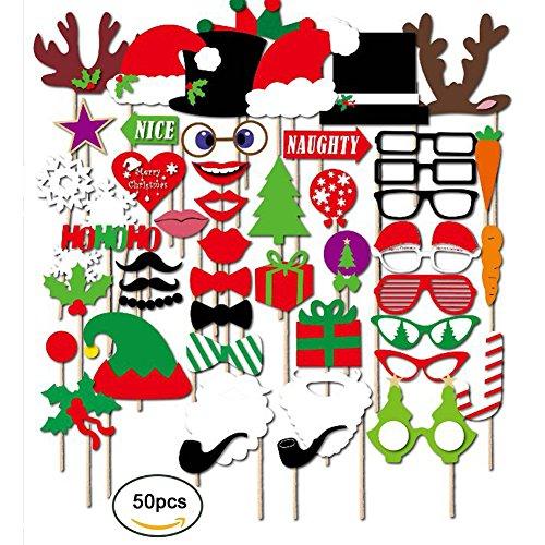 azlife Natale Photo Booth Props Fai da te Kit accessori, foto e vacanza decorazione per adulti e bambini (Confezione da 50)