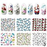 Perfect Summer 6Pcs Schmetterling/ Blume Nagelsticker Nail sticker Nagelaufkleber Gemischt Stil...