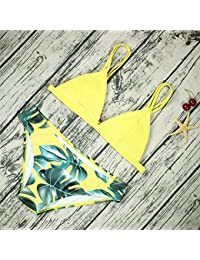 2018 La mujer Bikini Triángulo Microbath Impresión Floral espesar Bikini Sintonizadores bañador bañador vendaje,Amarillo,M