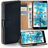moex Huawei Mate S | Hülle Schwarz mit Karten-Fach 360° Book Klapp-Hülle Handytasche Kunst-Leder Handyhülle für Huawei Mate S Case Flip Cover Schutzhülle Tasche