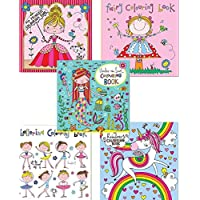 Set of 5 Colouring Books for Girls by Rachel Ellen Designs - Unicorn, Fairy, Ballerina, Princess & Under The Sea