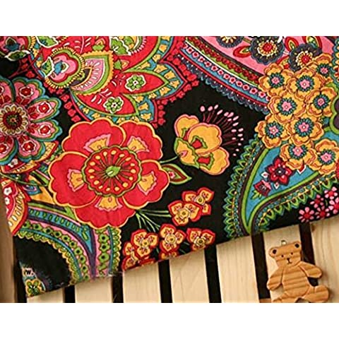 Algodón tela que acolcha rojo de la flor del diamante del remiendo del arte Tamaño 150x50cm