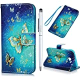 Image of A3 2017 Case MAXFE.CO for Samsung Galaxy A3 2017 Case 3D Gold Butterfly PU Leather Case Wallet Flip Case Shockproof Cover for Samsung A3 2017 with Hand Strap Built-in Card Slots Kickstand & One Stylus Touch Pen - Comparsion Tool