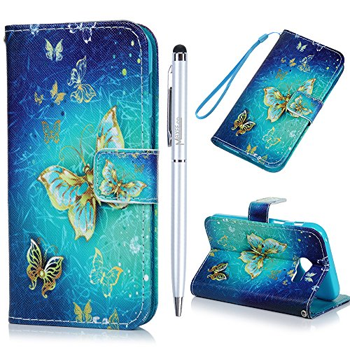 Galaxy A3 2017 Case MAXFE.CO 3D Gold Butterfly PU Leather Case Wallet Magnetic Flip Case Shockproof Bumper Cover for Samsung Galaxy A3 2017 with Hand Strap Built-in Card Slots Kickstand & One Stylus Touch Pen Test