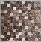 Naturstein Matte Fliesen 30x30 cm Verblender Mosaik Braun Mix Alu Marmor M753