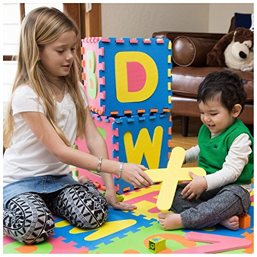 MousePotato Floor Puzzle Eva Mat 26 Piece ABC Tiles Each 1 x 1 Foot Alphabet Thick EVA Foam Play Mat