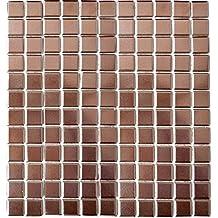 Neu Glasmosaik mit Edelstahl braun kupfer mix MOSAKO Mosaik Fliese