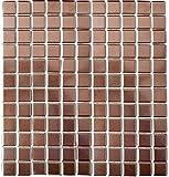 Mosaik Fliese Keramik kupfer für BODEN WAND BAD WC DUSCHE KÜCHE FLIESENSPIEGEL THEKENVERKLEIDUNG BADEWANNENVERKLEIDUNG Mosaikmatte Mosaikplatte 1 Matte