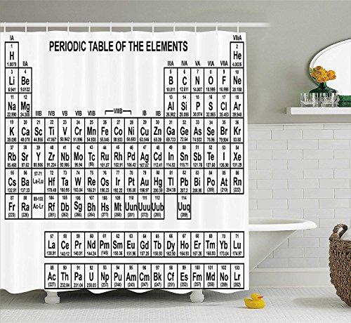 GAOFENFFR Periodensystem Duschvorhang Monochrom Einfache Wissenschaft Chemie Elemente für Studenten Klasse Bild Stoff Badezimmer Dekor Set mit Schwarz und Weiß - Wissenschaft Duschvorhänge