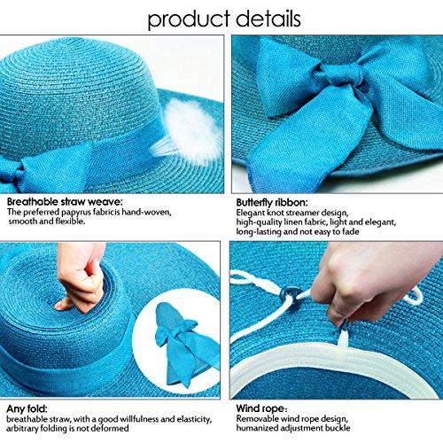 Sombrero plegable de paja con borde ancho para las mujeres Sombrero de la  playa del verano con lazo ef0f57a21fd