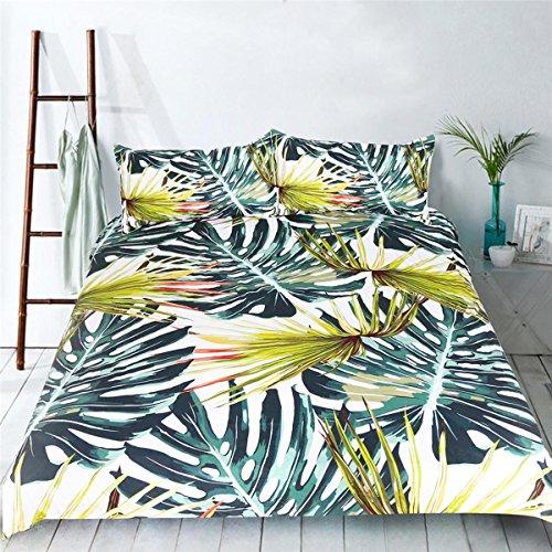 HUANZI Bettdecke Cover 3D Grün Bambus Easy Care Bettdecke Decke Set 3pcs Bettwäsche Set mit Kissen Etui Polyester, Twin