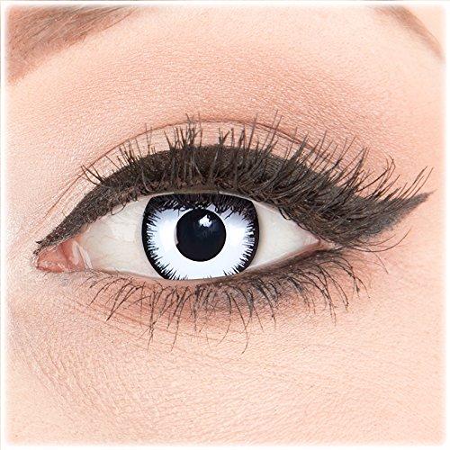 Farbige Kontaktlinsen zu Fasching Karneval Halloween 1 Paar Crazy Fun weiße schwarze 'Lunatic' mit Behälter in Topqualität von 'Glamlens' ohne Stärke