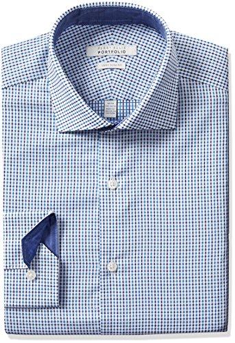Perry Ellis herren   Hemd   -  blau -  (Perry Ellis Herren-hemd)