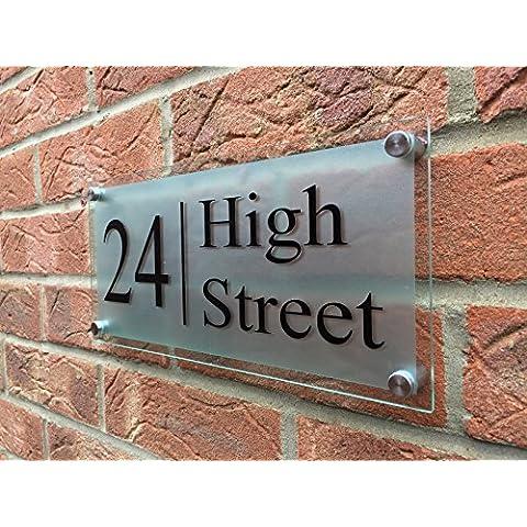 Modern House Sign cristal acrílico grabado puerta número/calle grande