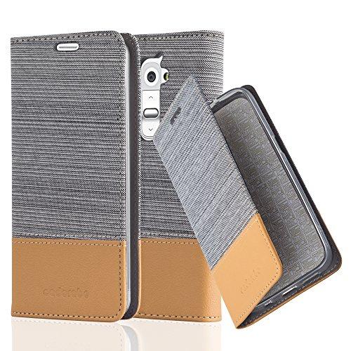 G2 Case Lg Gummi (LG G2 Hülle in HELL GRAU BRAUN von Cadorabo - Handyhülle im Stoff Design mit Magnetverschluss Standfunktion Kartenfach für LG G2 Case Cover Schutzhülle Etui Tasche Book Klapp Style)