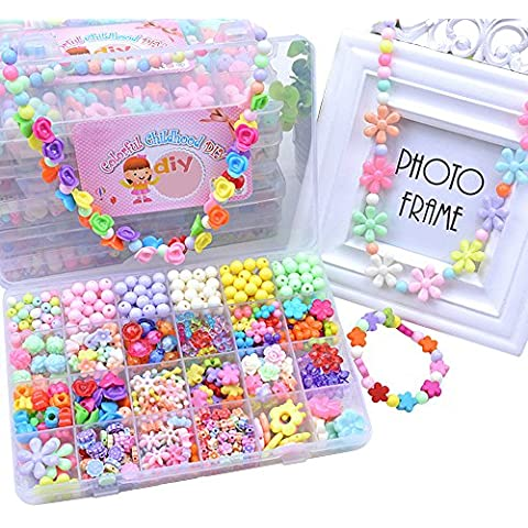 Eizur Bambini DIY Tesatura Perline Assortite Perle Ciondoli Differenti Multicolore con Scatola Fare Gioielli Braccialetti Necklace per Compleanno Christmas Festival Regalo Tipo F - 620 perline