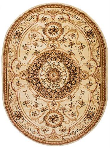 Oval Traditioneller Klassischer Teppich Für Ihre Wohnzimmer Esszimmer und Schlafzimmer - Creme Beige - 3D Effekt Konturenschnitt - Top Qualität - Sehr dicht Gewebt Robust Pflegeleicht