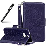 BtDuck HTC One M8 Hülle Leder, Brieftasche Flip Cover Portable Carrying Strap Embed Patterned Handytasche PU Leder Schutzhülle für HTC One M8 Tasche Handyhülle (Violett)
