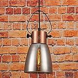 Pendelleuchte Rauchglas Neues Design: Deckenlampe Trichter Hand Polierte Lampenhalter Kupfer. Reflektoren Edison Glühbirne. Perfekt für Bar Restaurant Coffee Shop Heimgebrauch, D:15cm H:30cm