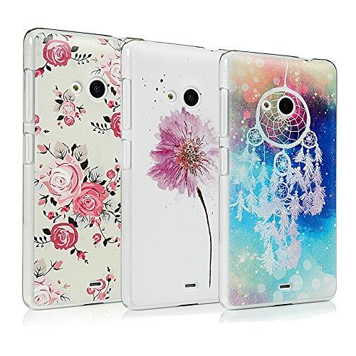 Lanveni 3x Gemalt Hartplastik Hülle für Microsoft(Nokia) Lumia 535 Smartphone Schutzhülle Etui Telefon-Kasten Case Bumper Abdeckung Backcover Handyhülle(Traumfänger + Rosa Wildblumen + Pfingstrose)