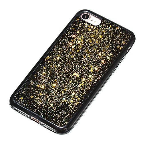 Custodia iphone 7 / iphone 8, iphone 7 / iphone 8 Cover, iphone 7 / iphone 8 Custodia Silicone,Cozy Hut Case Cover per iphone 7 / iphone 8, Shiny Sparkly Bling Bling Glitter Conchiglia Caso Guscio Sot Stelle doro
