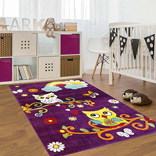 Kinder-Teppich Flachflor Moda Kids Eulen Blumen Lila Bunt Kinderzimmer Größe 140x200 cm