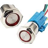 CESFONJER Led-verlichte drukknop, zelfblokkerende drukknopschakelaar, IP67 LED-knop, LED drukknop voor auto met 23 cm kabel k