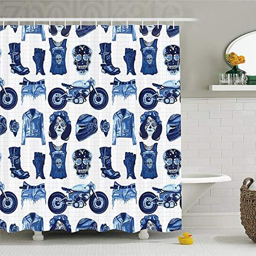 MAOYYM2 Mode wohnkultur duschvorhang Motorradfahrer kostümedunkle aquarelldruck Badezimmer ()