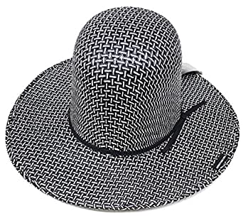 Modestone Boy s Straw Cowboy Hat Make Your Own Shape Black White 2 ... e1febf2216ef