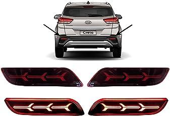 PR Car Reflector Led Brake Light for Bumper(Rear/Back) Drl Three Arrow Design For Hyundai Creta 2018- Set of 2 Pcs with wiring
