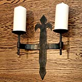 Candle Holder Compatible for vintage Black Rustic wall Mount Sconce Open Heart (12 Inch Double)