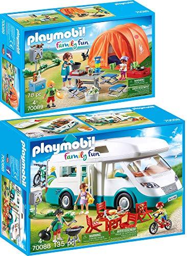 PLAYMOBIL® Family Fun 2er Set 70088 70089 Familien-Wohnmobil + Familien-Camping
