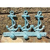 Nautical Blue Anchor Utility Coat Rack with 3 Hooks, Heavy Duty, Durable