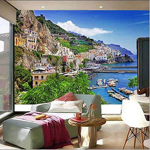 Lvabc Die Benutzerdefinierte 3D-Wandbild Häuser Marina Mountains Positano Städte Wallpapersthe Wohnzimmer Sofa Tv Wand Schlafzimmer Tapete-120X100Cm -