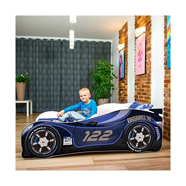 Sale +++ The Best Quality Baby Kids Bed Toddler Car Junior Bed with Mattress 140 x 70 cm 160 x 80 cm 180 x 80 cm (160x80cm Untill 8 Jears, Navy)  Kids Bed + Foam Mattress in 3 Sizes: 140 x 70 cm untill 5 jears 160 x 80 cm untill 8 jears 180 x 80 cm untill 12 jears Greengard Gold - Product certified for law chemical emissions Ecologo - Product certified for reduced environmental impact 1