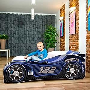 LETTO PER BAMBINI 140X70 CM 160 x 80 CM 180 X 80 CM AUTO CARS + MATERASSO CON FODERA CERTIFICATO ECO LOGO (160 x 80 cm a 8 anni, NAVY)
