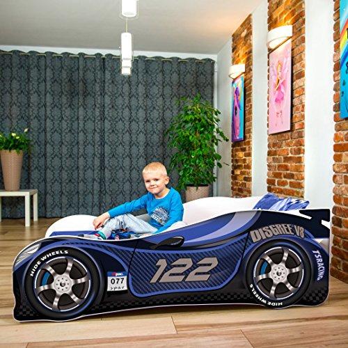 Cama infantil coche de carreras + somier (barandas) + colchón de espuma con cubierta (180 x 80 cm (3-12 años), navy 122)