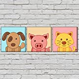"Nutcase Framed Kids Room Wall Art Decor Hanging Block Non-Fading Digital Painting For Living Room, Bedroom,Desk & Office –3 Frames,- 9""x9""( Screws Included) - Cute Dogs"