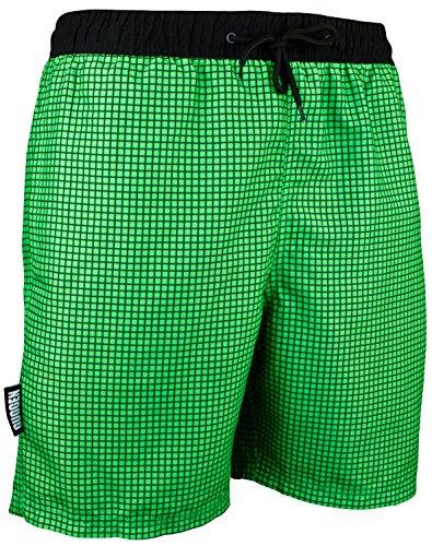 GUGGEN Mountain Badehose für Herren Schnelltrocknende Badeshorts Style-6 mit Kordelzug Beachshorts Boardshorts Schwimmhose Männer kariert Farbe Gruen L