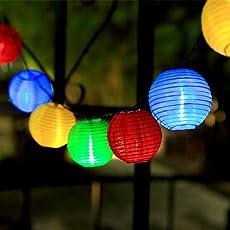 GDEALER Lichterkette Batterie 7.5 M 30 Lampions 8 Modus Wasserdicht  Batteriebetriebene Laterne LED Lichterkette Außen ...