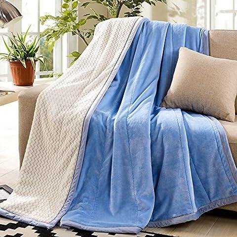 BDUK La manta gruesa capa de color sólido doble franela manta coral de alfombras y ropa de cama ,180cmx200cm el otoño y el invierno , doble y Laguna Azul