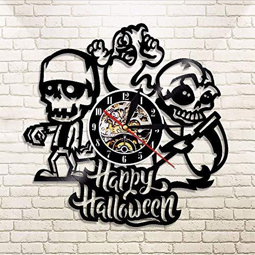 Wall Clock 1 Stück Halloween Craneo Y Fantasma Reloj De Pared De Register De Vinilo De Longplay Vinilo Pared Arte Decoración Regalo para Craneo De Los Amantes ()